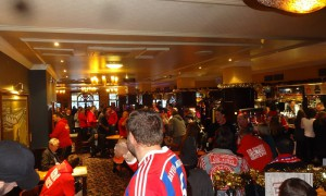 The FCB fans gather at the Wetherspoons Pub in Manchester